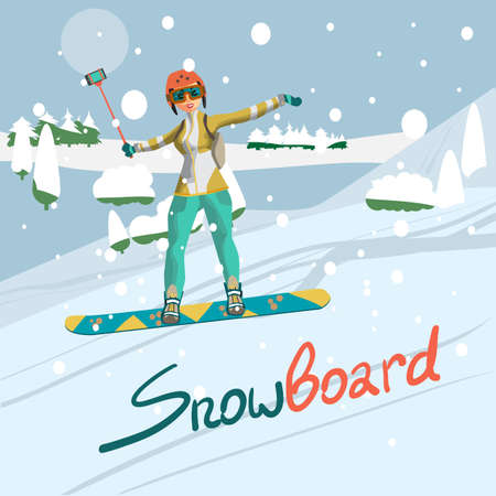 Winter card background. Woman snowboarding in mountains with a stick for a selfie. Flat cartoon vector illustration Illustration