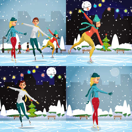 pirouette: Winter sports. Figures Skating. Women skating at the rink in the day. Flat cartoon vector illustration