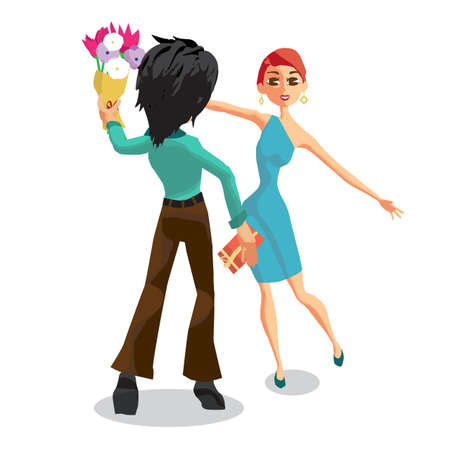 The young man gives a woman a bouquet of flowers. Back view. Happy birthday, Valentines Day. Flat isolated vector illustration