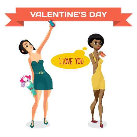 Young women after receiving gifts. Happy Valentines day card vector cartoon illustration
