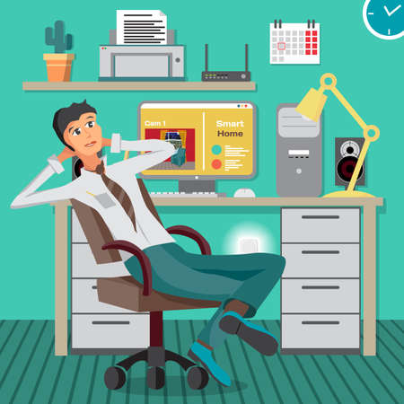 uses a computer: Smart home. CCTV technology system. Businessman in the office uses video surveillance through the computer. Vector flat cartoon illustration Illustration