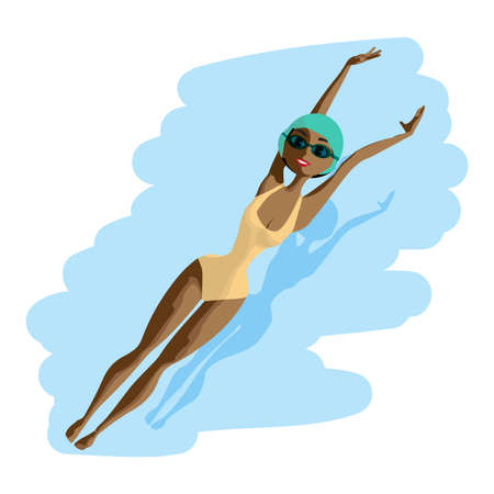 backstroke: Young black woman in sports swimsuit swims in the pool at the backstroke. Flat cartoon isolated vector illustration