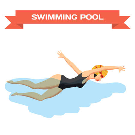 crawl: Young woman in sports swimsuit swims in the pool front crawl style. Flat cartoon isolated vector illustration