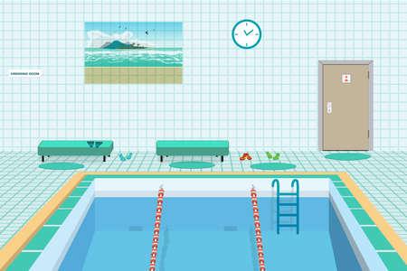 Public swimming pool inside with blue water. Flat cartoon vector illustration Illustration