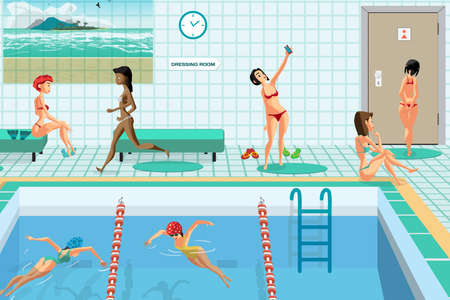 Public swimming pool inside with blue water. Women engaged in water sports. Flat cartoon vector illustration