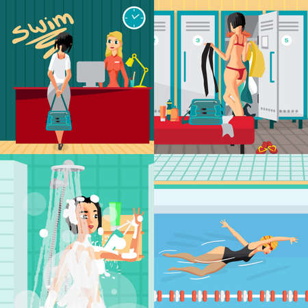 goes: Swimming pool interior concept banners. Reception, locker room, shower and track. Woman goes in for sports. Vector flat cartoon illustration