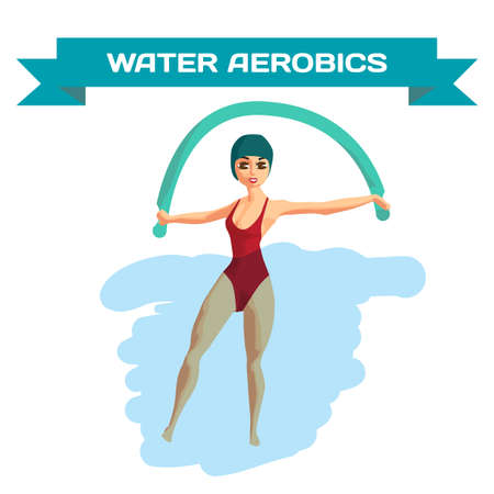 Beautiful girl doing Aqua aerobics. Woman is engaged in gymnastics in the pool. Flat cartoon isolated vector illustration Illustration