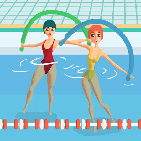 Water aerobics with noodles. Group fitness classes. Women engaged in gymnastics pool. Flat cartoon vector illustration Illustration