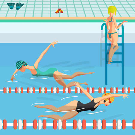 crawl: Public swimming pool inside with blue water. Young women in sports swimsuit swims in the pool front crawl style.