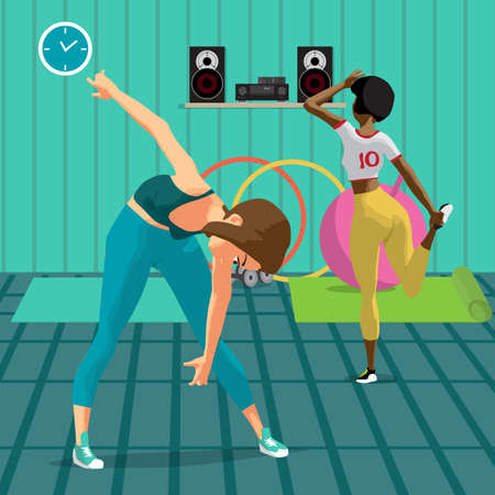 Women doing gymnastic exercises. Girls in sportswear doing stretching leg and leans to the floor. Flat cartoon vector illustration Illustration