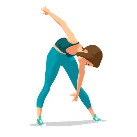 Ragazza facendo esercizi ginnici. La donna in abbigliamento sportivo si appoggia al pavimento. Illustrazione di vettore isolato fumetto piatto Vettoriali