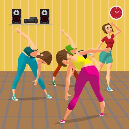 Junge Frauen Fitness Gruppenturnen in der Turnhalle zu tun, unter der Anleitung eines Trainers. Wohnung Cartoon-Vektor-Illustration