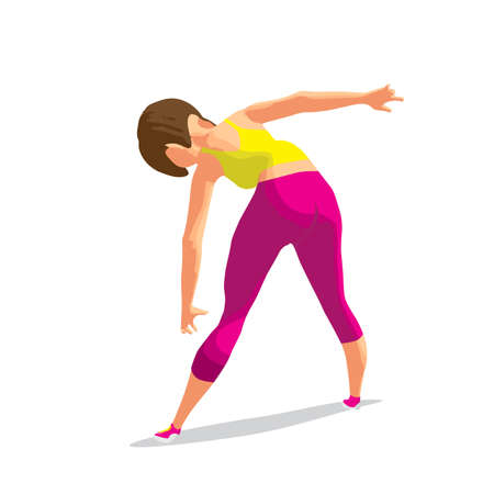 Girl doing gymnastic exercises. Woman in sportswear leans to the floor. Back view. Flat cartoon isolated vector illustration Illustration
