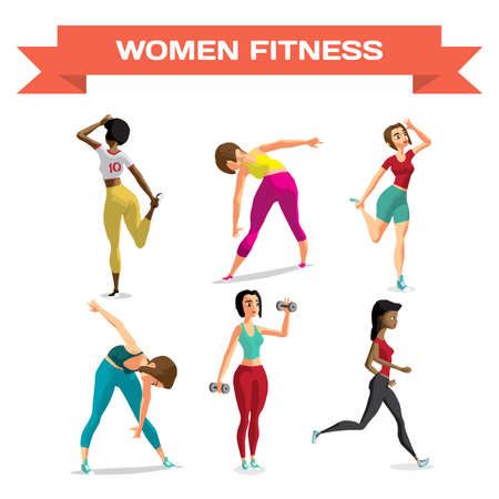 Set of women involved in sports in sportswear. Stretching the back, abdominals, jogging, working with dumbbells. Flat cartoon isolated vector illustration