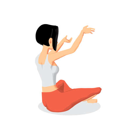 Young beautiful woman sitting in yoga pose. Back view. Flat cartoon isolated vector illustration Illustration