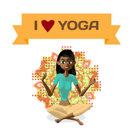 mantra: Ornament card with beautiful afro woman sitting in yoga pose. Flat cartoon isolated vector illustration