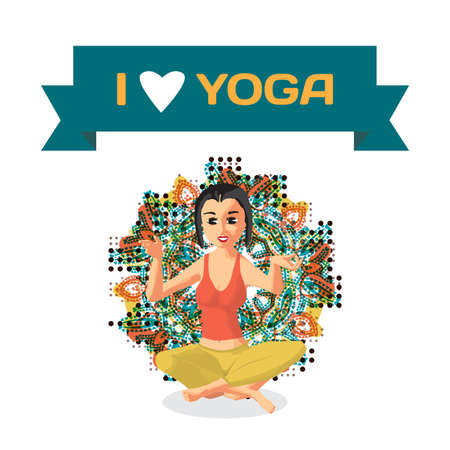 nirvana: Ornament card with beautiful woman sitting in yoga pose. Flat cartoon isolated vector illustration