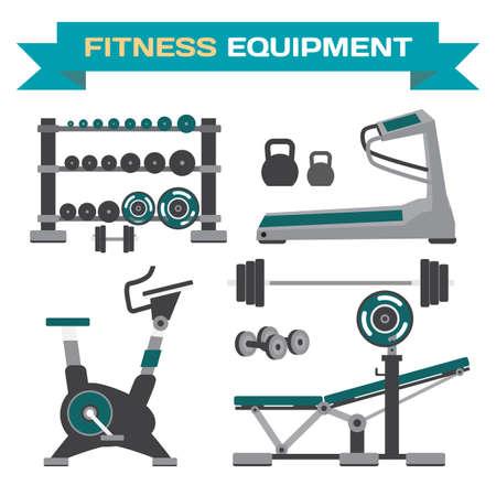 체육관 훈련, 보디 빌딩, 건강하고 활동적인 라이프 스타일, 피트 니스 요소의 집합입니다. 기능 훈련 장비. 평면 만화 고립 된 벡터 일러스트 레이션