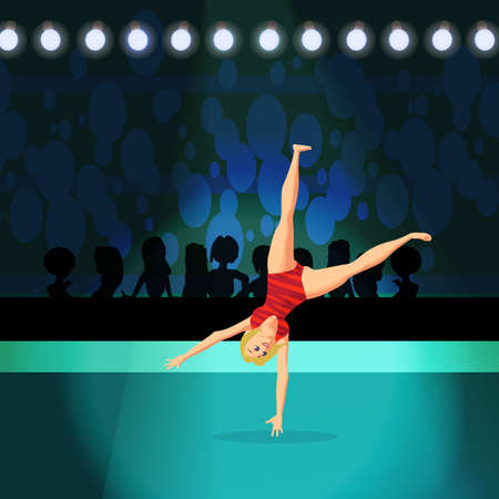 Girl doing Rhythmic Gymnastics on shiny stadium. Sportswoman in a red sports uniform doing a somersault. Flat cartoon vector illustration