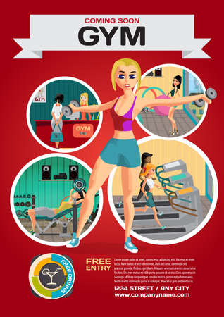 Template for a poster on the gym. Reception and  gymnasium. Woma Illustration