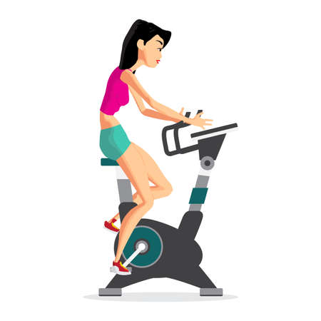 gir: Caucasian woman riding stationary bicycle in the gym. Sporty gir