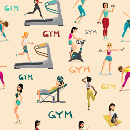 Seamless pattern women doing fitness exercises in the gym. Carto Illustration