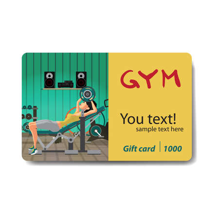 Young woman with barbell flexing muscles in gym. Sale discount gift card. Branding design to the gym and sports club