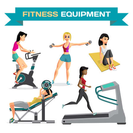 Set of women engaged in exercise in the gym. Vector flat cartoon illustration isolated on a white background