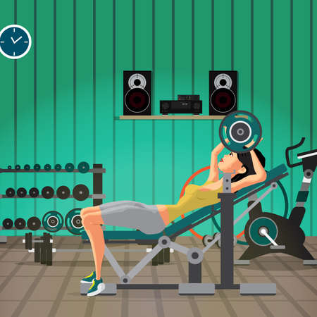 Young woman with barbell flexing muscles in gym. Flat cartoon vector illustration