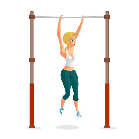 hang up: Young woman blonde in sports clothes hanging on a horizontal bar.