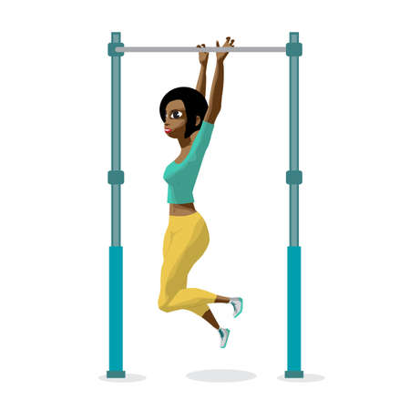 crossbar: Afro young woman in sports clothes hanging on a horizontal bar.