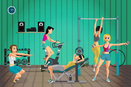 Young women in sportswear perform exercises in the gym. Illustration