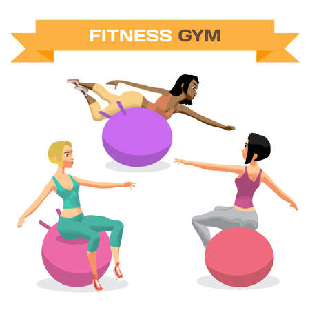 Young women is engaged on a gymnastic ball in the gym. Sporty girls exercising on stability ball. Flat cartoon isolated vector illustration. Illustration