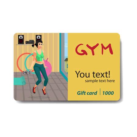 Vrouwentouwtjespringen in een gymnastiek. Verkoop kortingsbon kaart. Branding d