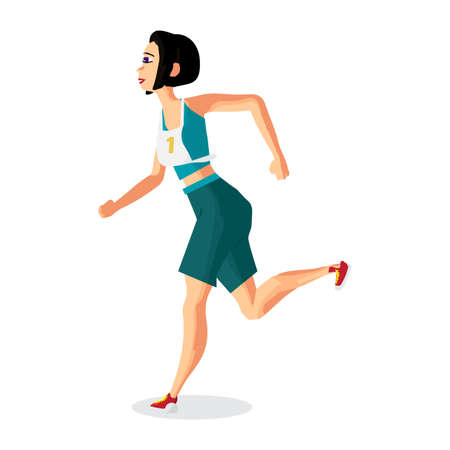 endurance run: Young female athlete with a number running in the race. Vector flat cartoon illustration isolated on a white background