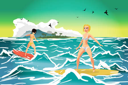 Young women in bikini surfing on the wave at sunset. Tropical sea summer landscape. Vector flat cartoon illustration Illustration