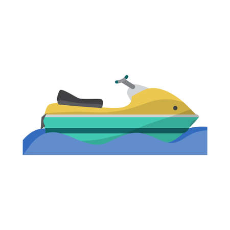 Water transport scooter, jet ski boat. Vector flat cartoon illustration isolated on a white background Illustration