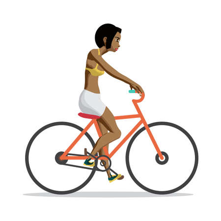 short trip: Young afro woman rides red bike on isolated background. Girl pedaling on summer time. Flat vector cartoon illustration