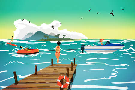 girl in nature: Sea landscape summer beach. Motor boat pulls a banana in tow. The girl is standing on a wooden pier. Vector flat cartoon illustration. Illustration