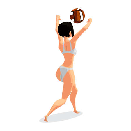 grab: Young woman playing volleyball at beach. Girl beats the ball in the game. Back view. Flat isolated vector illustration