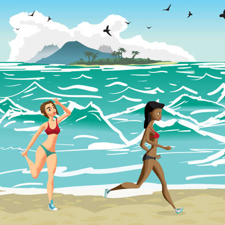 jogging in nature: Young women is engaged in the beach sports. Girls is running along the seashore. Vector flat cartoon illustration