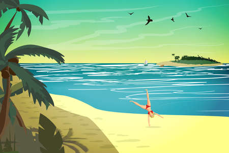 Young woman are engaged in sports on the beach. The girl is doing a somersault on the beach.Vector flat cartoon illustration Illustration