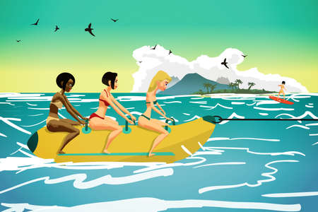 Young women ride a banana. Girls in the summer on the beach. Flat vector illustration