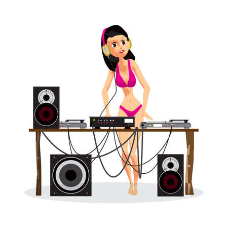 Summer party: Woman DJ in bikini and equipment, dance music. Set of loudspeakers, subwoofer, turntables, a mixer for a disco on the beach. Vector flat cartoon illustration on a isolated background