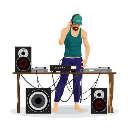 Summer party: DJ and his equipment, dance music. Set of loudspeakers, subwoofer, turntables, a mixer for a disco on the beach. Vector flat cartoon illustration on a isolated background Illustration
