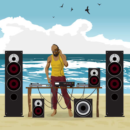 Summer party: DJ afro man and his equipment, dance music. Set of loudspeakers, subwoofer, turntables, a mixer for a disco on the beach. Vector flat cartoon illustration on a isolated background Illustration