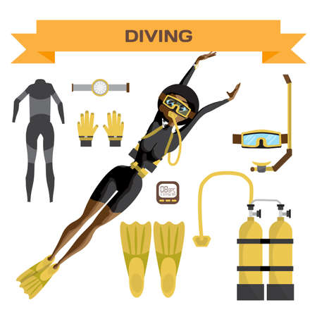 Scuba diving vector equipment. A young afro woman in gear dives. Vector flat cartoon illustration on a isolated background