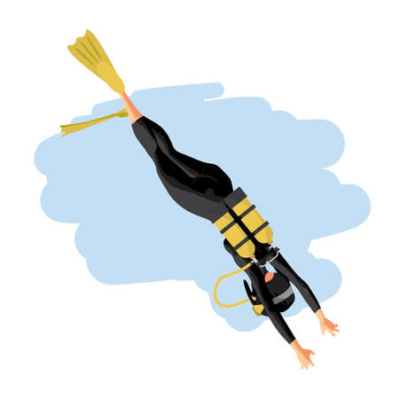 deep sea diver: A young woman in diving suit snorkeling. Back view. Vector flat cartoon illustration on a isolated background