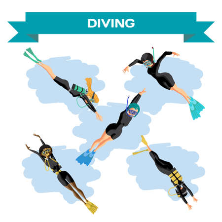 Set of young women in diving suit snorkeling. Girls swim under the water. Vector flat cartoon illustration on a isolated background Illustration