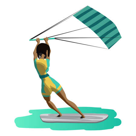 Afro woman drive at kite surfing. Back view. Girl windsurfing on water surface with air kite. Vector flat cartoon illustration on a isolated background